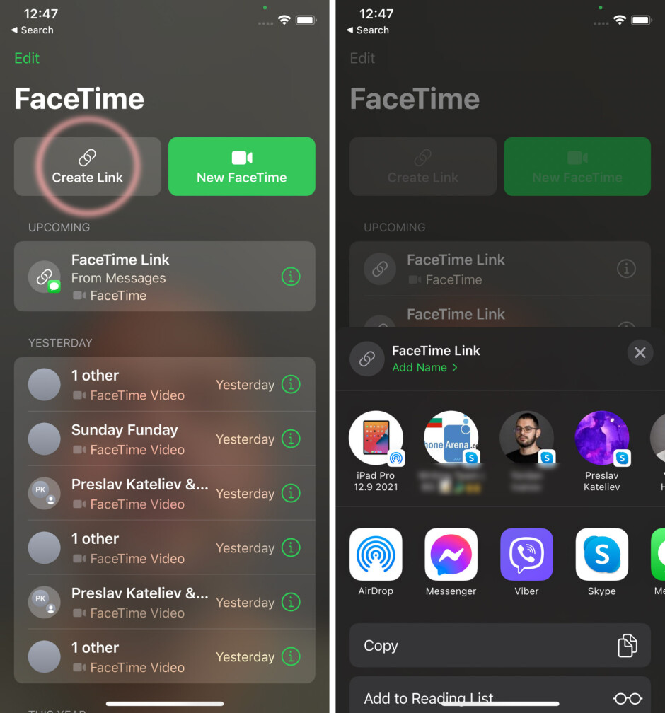 Tap Share Link and send it - How to FaceTime Android users from iPhone