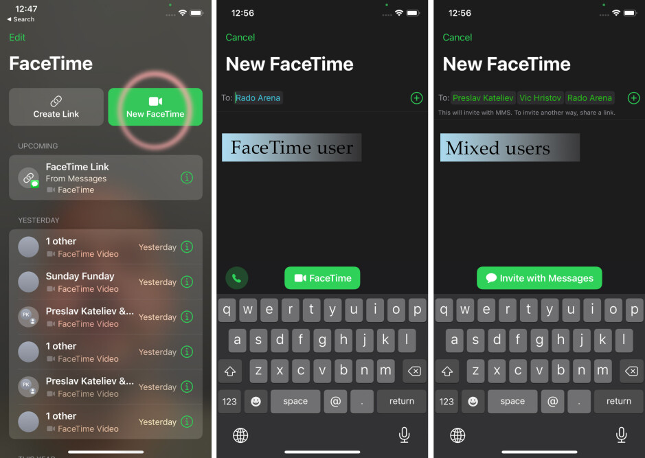 Initiating a call with one or multiple people - How to FaceTime Android users from iPhone
