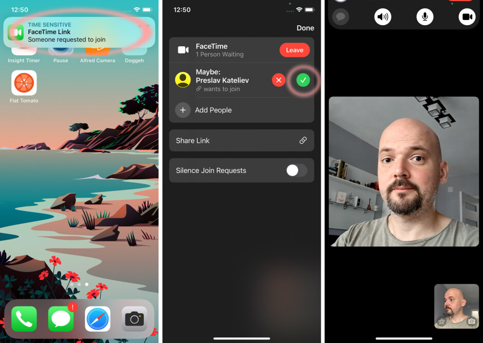 When someone accepts your invitation - How to FaceTime Android users from iPhone