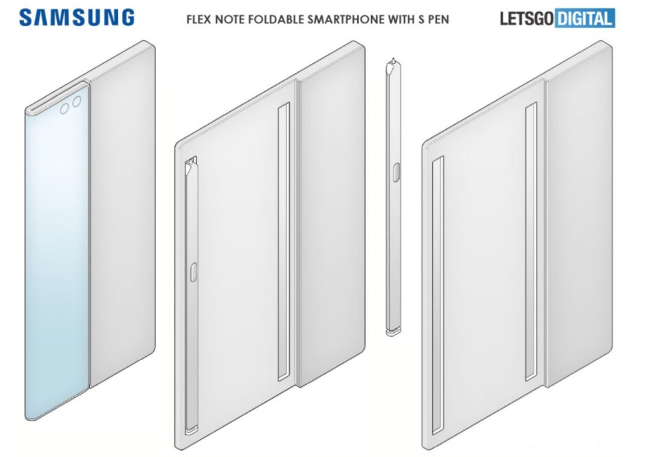 Based on Samsung's patent application, this could be a foldable Galaxy Note handset - Samsung patent application shows off foldable Galaxy Note