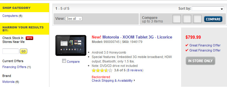 The Motorola XOOM must be pre-ordered directly at a Best Buy store - Best Buy pre-order page for the Motorola XOOM is back