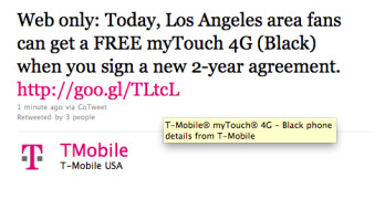 L.A. residents can get a free T-Mobile myTouch 4G with a signed 2 year contract