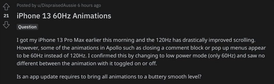 Some iPhone 13 Pro users have noticed the lack of a 120Hz refresh rate on third-party animations - Apple says its 120Hz refresh rate does work with all third-party apps
