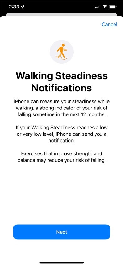 The new Walking Steadiness Notification feature comes with the iOS 15 update - New iOS 15 feature notifies you if you're in risk of falling