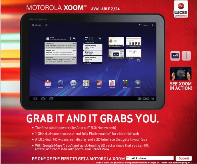 Motorola XOOM won't support Flash at launch