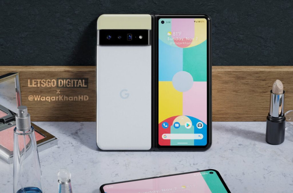 Google Pixel Fold rendering - Pixel Fold renders the surface (VIDEO);  Google obtains a patent for the folding hinge