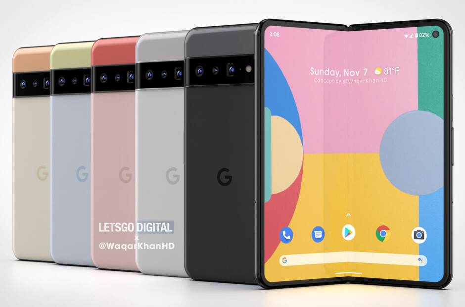 More renderings Pixel Fold - Pixel Fold renders the surface (VIDEO);  Google obtains a patent for the folding hinge