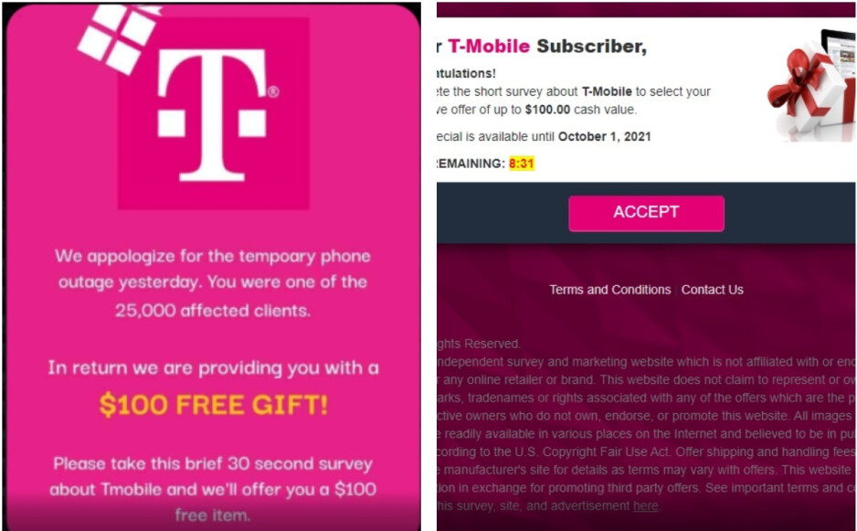 Some T-Mobile subscribers are receiving this spam - T-Mobile customers are receiving spam texts possibly related to August's data breach