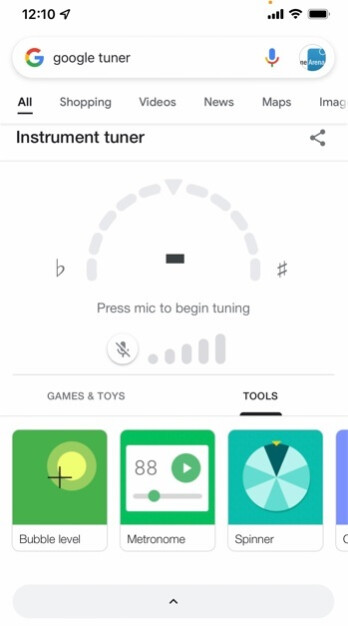 Search for Guitar tuner using your Google Search app and you'll have a chromatic tuner at your fingertips - With a new feature added yesterday, Google Search becomes a guitar player's best friend