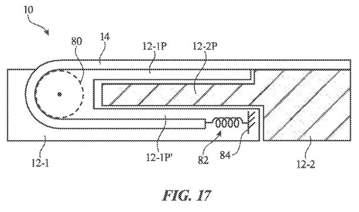 Image from Apple's patent Electronic Devices Having Sliding Expandable Displays. - Patent application reveals that Apple is considering the production of a rollable iPhone