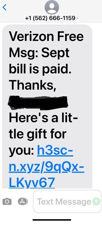 Someone's going phishing using this bogus text to try and gather personal information from Verizon subscribers - Verizon subscribers are the target of a phishing expedition; do not respond to this text message