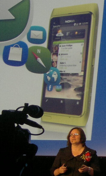 Jo Harlow presenting the refreshed Symbian^3 UI