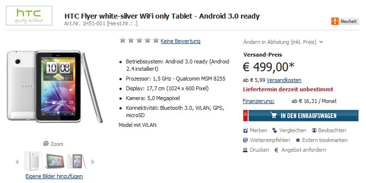 HTC Flyer up for pre-order in Germany, Galaxy Tab 10.1 coming to Europe in March