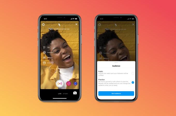"""Em breve, o Instagram terá um novo recurso de """"modo de prática"""" para sessões de vídeo ao vivo"""