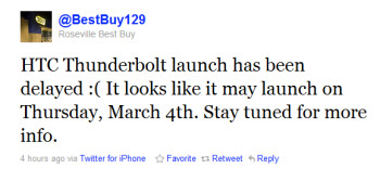 March 4th launch for HTC Thunderbolt tweets a Best Buy store