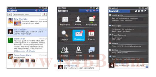Facebook 2.0 for BlackBerry is expected to be officially released in May 2011 - Screenshots of Facebook 2.0 for BlackBerry leaked