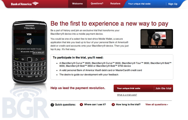 """Bank of America will be conducting a trial of its Mobile Wallet service which uses NFC enabled handsets to allow you to """"tap and pay"""" when checking out at a participating retailer - Bank of America using NFC enabled BlackBerry devices for Mobile Wallet trial program"""