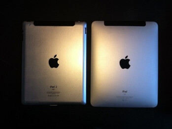 The Apple iPad 2 (L) appears to be smaller than the original model with a flatter back and more angular sides
