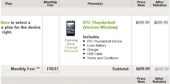 HTC prices its Thunderbolt at $699 without a contract