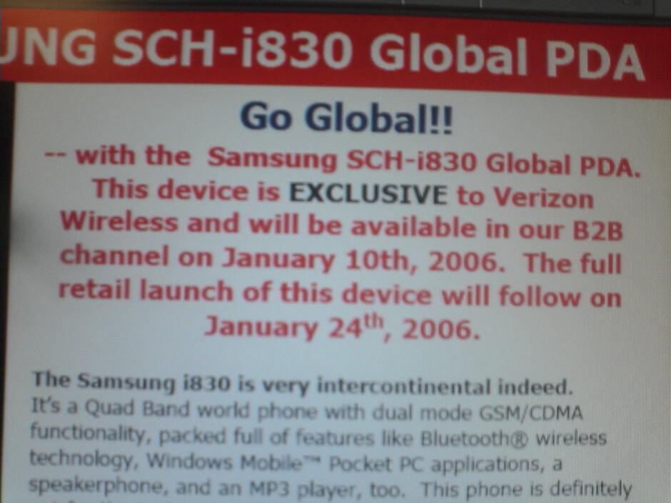 Verizon to launch Samsung SCH-i830 next month