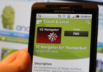 The VZ Navigator app is now available in the Android Market for the HTC Thunderbolt-only the phone is not yet available