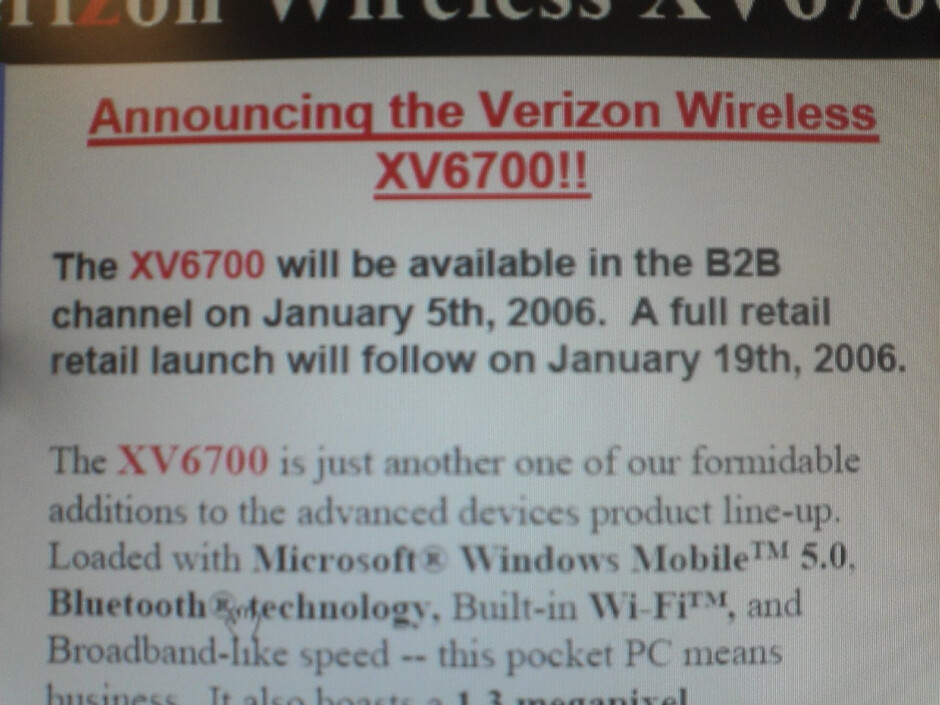 Verizon XV6700 / HTC Apache to be released in January, 2006