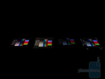 Left to right - Apple iPhone 4, LG Optimus Black, Nokia E7, Samsung Galaxy S