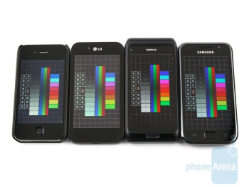 Left to right - Apple iPhone 4, LG Optimus Black, Nokia E7, Samsung Galaxy S