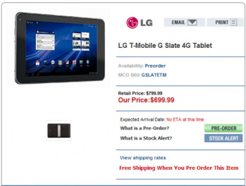 MobileCity's placeholder page for the LG G-Slate shows a price of $699.99 for the tablet