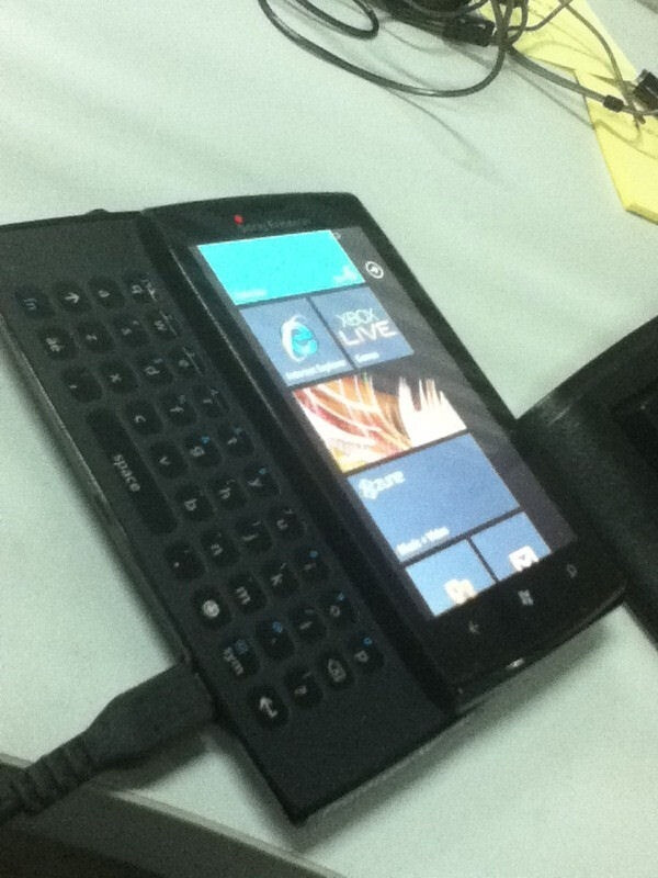 If real, this photo shows a QWERTY equipped Sony Ericsson device running Windows Phone 7 - Sony Ericsson Windows Phone 7 handset is pictured