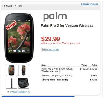 HP quickly drops the price of the Palm Pre 2 for Verizon to $30 on-contract