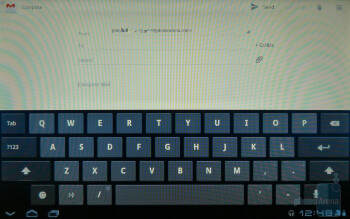 When you're composing a message, you're presented with the stock Honeycomb keyboard