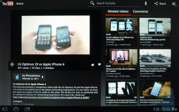 The YouTube client with Honeycomb