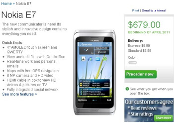 Pre-orders go live for the Nokia E7 in the US & India - priced at $679