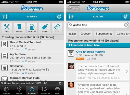 Explore finds places for you to, uhhh...explore, based on your likes and your friends preferences - Foursquare gets major upgrade tonight for iOS and Android to version 3.0