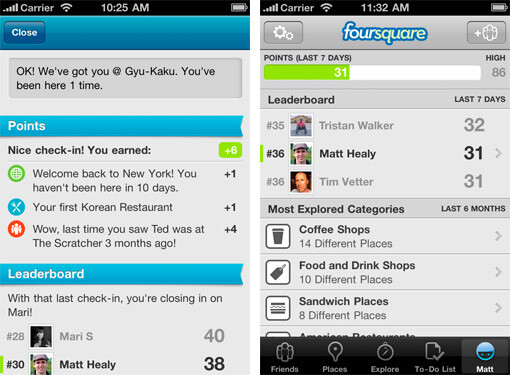 The leaderboard uses a 7 day scale of points earned by you and your buddies - Foursquare gets major upgrade tonight for iOS and Android to version 3.0