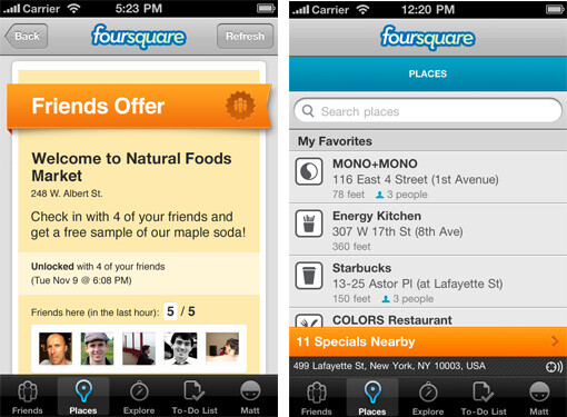 The Places screen shows specials available to you, that are nearby - Foursquare gets major upgrade tonight for iOS and Android to version 3.0
