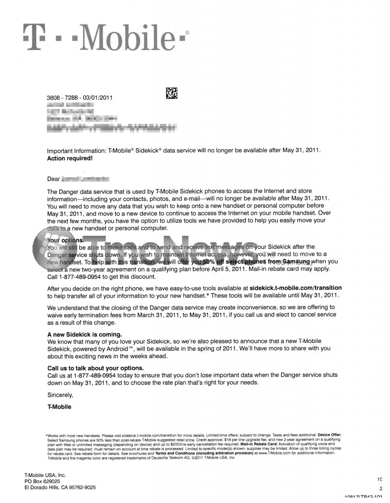 T-Mobile's response to a Sidekick owner mentions the options that the carrier is offering to owners of the device - T-Mobile offering 50% off certain Samsung handsets for Sidekick owners