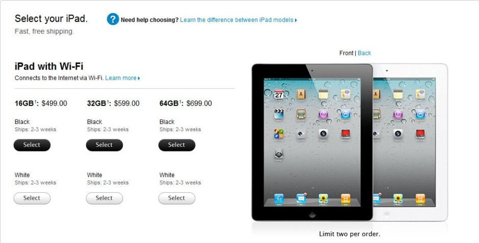 Apple iPad 2 shipment dates now stand at 2 to 3 weeks out