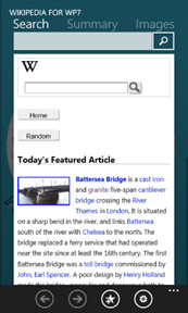 The exclusive Wikipedia7 app for Windows Phone 7 has some exclusive features