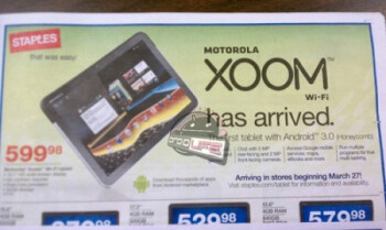 This leaked Staples flyer shows the launch of the Wi-Fi only Motorola XOOM on March 27th for $600