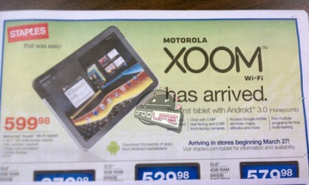 This leaked Staples flyer shows the launch of the Wi-Fi only Motorola XOOM on March 27th for $600 - Wi-Fi only Motorola XOOM to launch March 27th for $600?