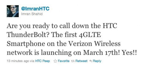 HTC ThunderBolt to arrive on March 17, say an HTC rep and a leaked e-mail