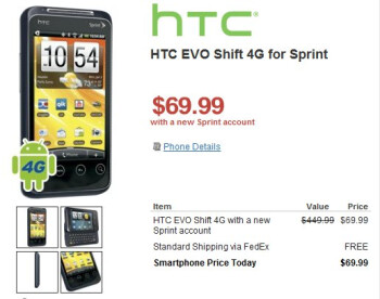 HTC EVO Shift 4G is priced affordably at $69.99 through RadioShack