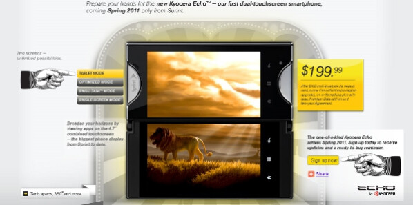 The dual-screen Kyocera Echo is heading for an April 17th launch on Sprint for $199 - Kyocera Echo (Echo...Echo...Echo) to launch April 17th on Sprint for $199