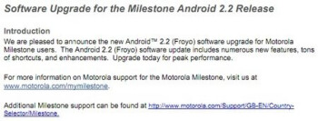 Android 2.2 Froyo update is finally available for the Motorola MILESTONE