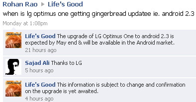 Android 2.3 Gingerbread update for the LG Optimus One will possibly arrive in May