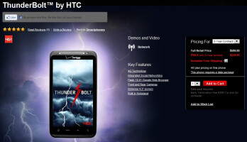 The HTC ThunderBolt strikes Verizon's web site