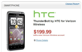 Prices for the HTC ThunderBolt on Amazon and Wirefly