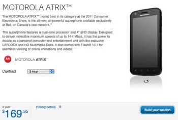 Motorola ATRIX is now available through Bell for $169.95 with a 3-year contract